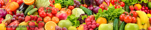 Poster Fruits Panoramic collection healthy fruits and vegetables.