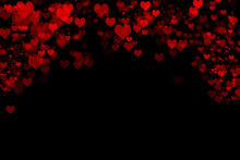 Red Heart Shapes Bokeh Background