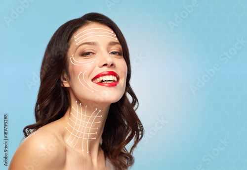 Photo  woman with lifting arrows on face and neck skin