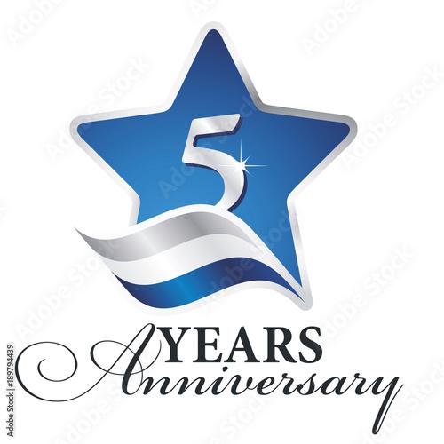 фотография  5 years anniversary isolated blue star flag logo icon