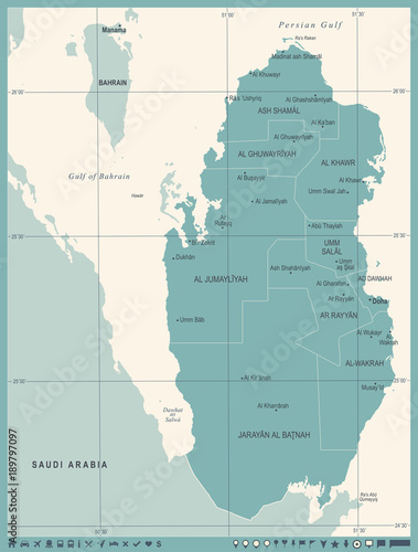 Qatar Map - Vintage Detailed Vector Illustration - Buy this ...