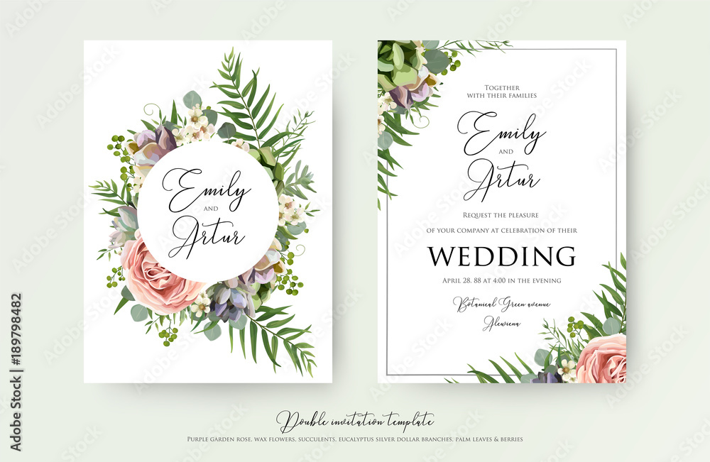 Fototapeta Floral Wedding Invitation elegant invite, thank you, rsvp card vector Design: garden pink, peach Rose flower, white wax, succulent, cactus plant, green Eucalyptus tender greenery, berry trendy bouquet