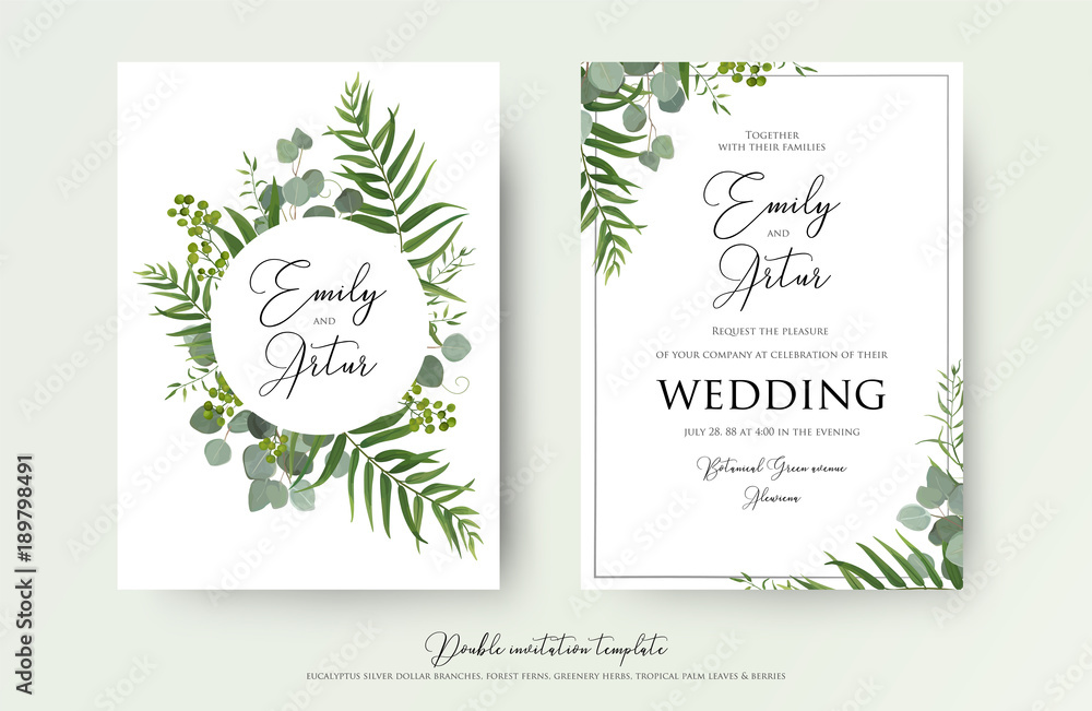 Fototapeta Wedding Invitation, floral invite thank you, rsvp modern card Design: green tropical palm leaf greenery eucalyptus branches decorative wreath & frame pattern. Vector elegant watercolor rustic template