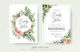 Floral Wedding Invitation elegant invite, thank you, rsvp card vector Design: garden pink, peach Rose flower, white wax, succulent, cactus plant, green Eucalyptus tender greenery, berry trendy bouquet