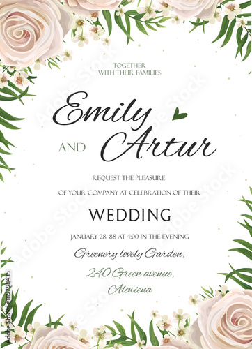 Wedding floral watercolor style invite, inviration, save the date ...