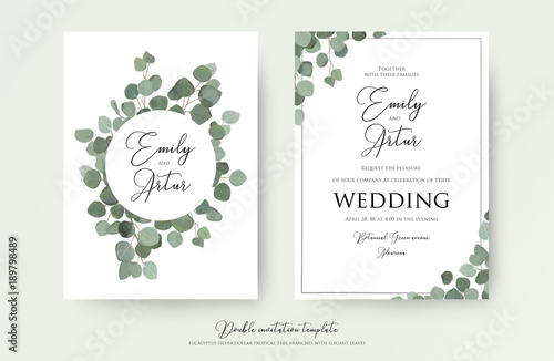 Wedding floral watercolor style double invite invitation save the wedding floral watercolor style double invite invitation save the date card design with cute junglespirit Gallery