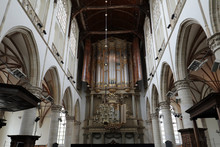 The Two Organs Inside The Church Of St. Lawrence (Grote Kerk Or Great Church) In Alkmaar, Netherlands..