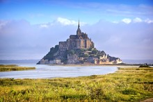 Religious Landmark Of Mont Saint Michel From A Distance, Early Morning, Normandy, France