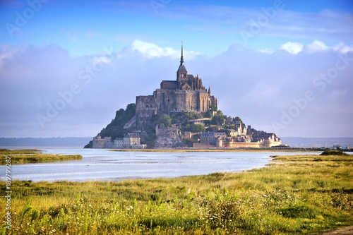 Religious landmark of Mont Saint Michel from a distance, early morning, Normandy Canvas