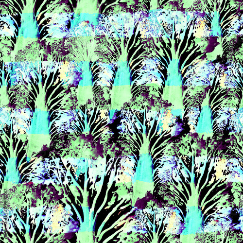 Poster Fleur Seamless Hand Drawn Watercolor Pattern. Bright Design for Wallpaper, Tile, Textile, Fabric, Wrapping, Packaging, Camouflage Print.