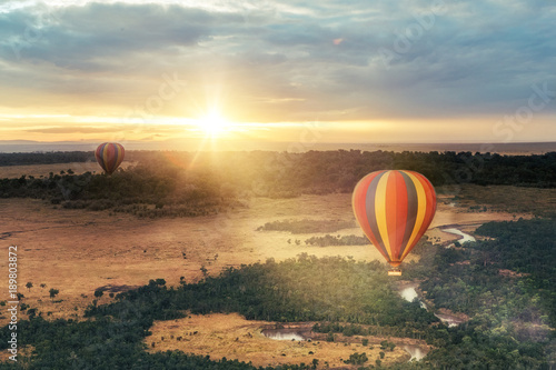 Fototapeta Hot Air Balloon Ride Over Masai Mara