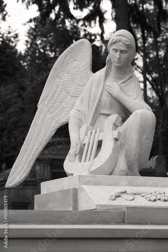 Poster Monument Angel with a harp. A sculpture at the cemetery.