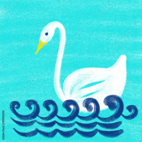 Staande foto Dolfijnen Colorful drawn bright white swan for greeting card or advertisement on blue background as lake, cartoon illustration painted by pencil paper chalk, high quality