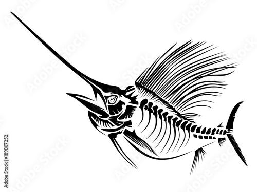 Sail fish skeleton isoated on white фототапет