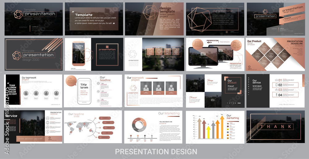 Fototapeta presentation template for promotion, advertising, flyer, brochure, product, report, banner, business, modern style on black and brown background. vector illustration