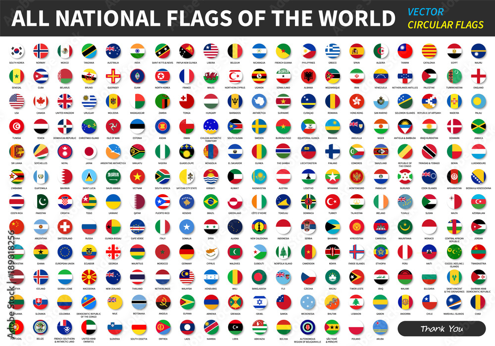 Fototapety, obrazy: All official national flags of the world . circular design . Vector