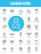 Clothing & Accessories Minimalist and Modern Flat Vector Icons Set
