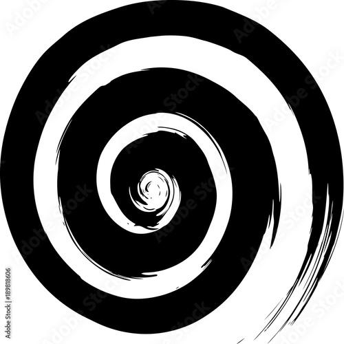 Fotografie, Obraz  丸 渦 渦巻き 螺旋 黒 筆文字
