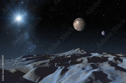 Photo  A frozen surface of dwarf planet