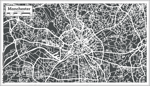 Fotografie, Obraz Manchester England City Map in Retro Style. Outline Map.