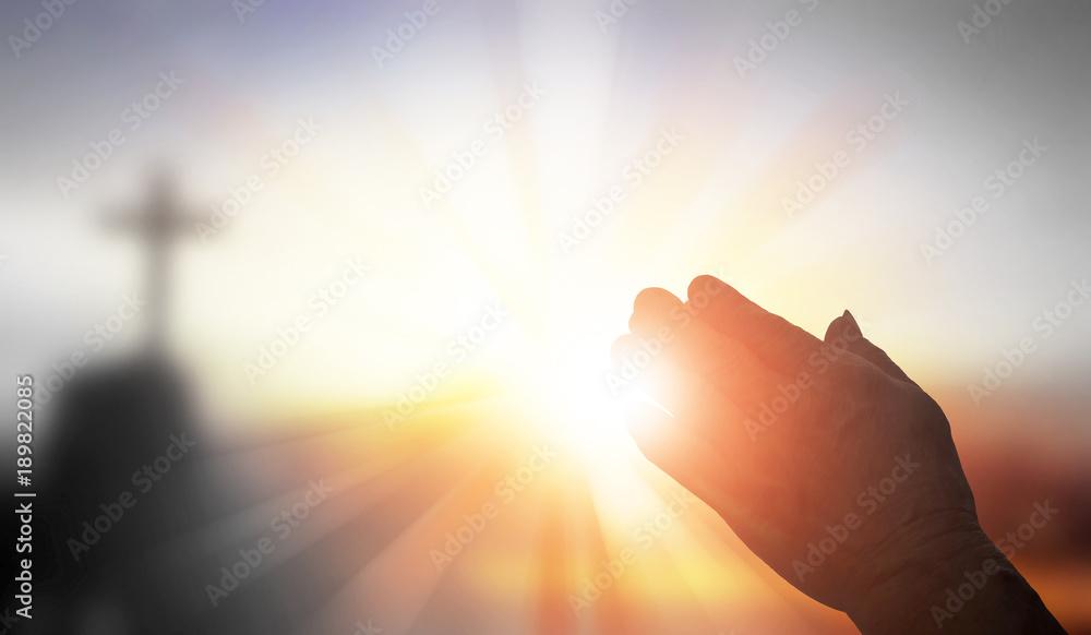 Fototapety, obrazy: Silhouette prayer hands