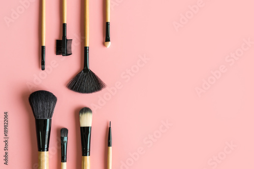 Set of essential professional make up brushes
