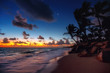 Punta Cana tropical beach at sunrise , Dominican Republic