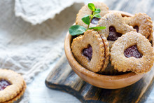 Cookies In The Form Of Hearts In A Wooden Bowl.