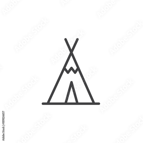 Photo Wigwam line icon, outline vector sign, linear style pictogram isolated on white