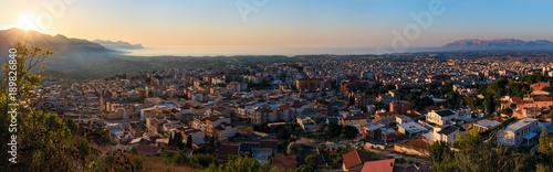 Evening Alcamo town and sea bay, Sicily, Italy Wallpaper Mural