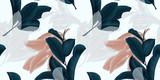 Wzór, ręcznie rysowane ciemny zielony, brązowy i biały liść guawy na gałązce na szarym tle - 189828097