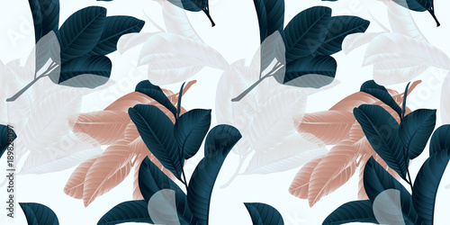 Motiv-Fußmatte - Seamless pattern, hand drawn dark green, brown and white guava leaf on sprig on grey background (von momosama)
