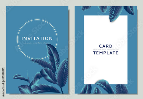 Hand drawn Tropical blue guava leaves on blue background, invitation card template design