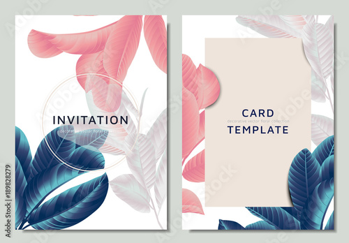 Hand drawn Tropical blue, pink and white guava leaves on branch, invitation card template design