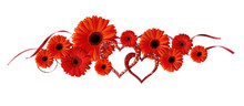 Red Gerbera Flowers, Glitter Hearts And Ribbons