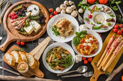 イタリアンパスタ Fettuccine pasta Italian cuisine Tapéta, Fotótapéta
