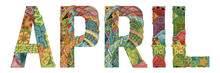 Word APRIL. Vector Decorative ...