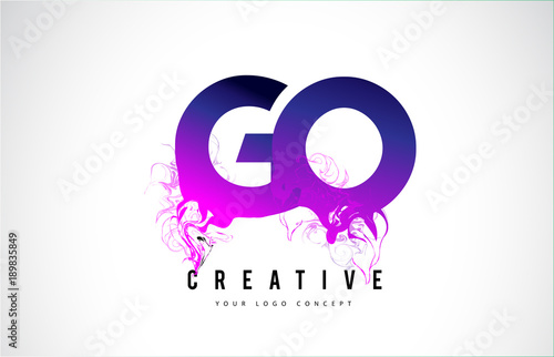 GO G O Purple Letter Logo Design with Liquid Effect Flowing Poster