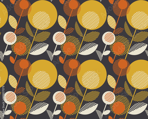 Retro orange and yellow color 60s flower motif Tableau sur Toile