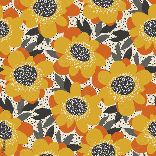 Motiv-Fußmatte - Simple free drawn floral seamless pattern. Retro 60s flower motif in fall orange and yellow colors. vector illustration. (von galyna_p)