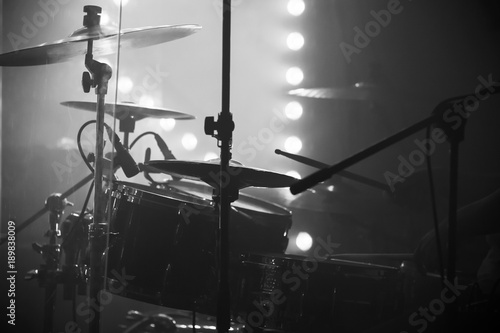 Photo Live music photo, drum set with cymbals