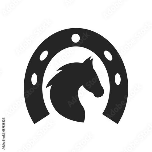 Tablou Canvas Horse head and horseshoe icon