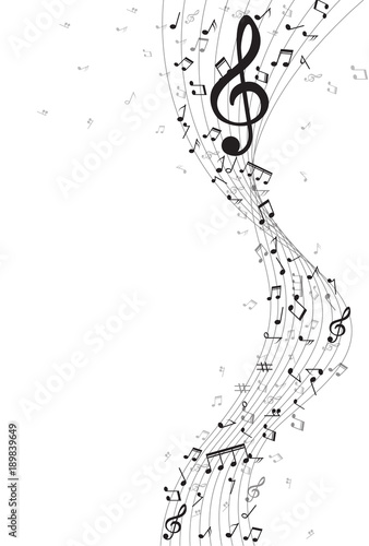 Abstract Background With Gold Color Music Notes Vector