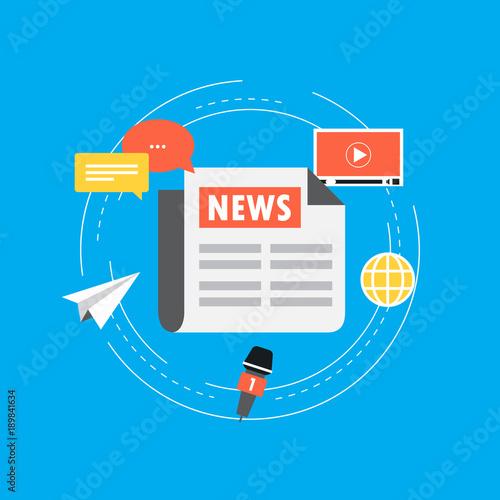 Online News Newspaper News Website Flat Vector Illustration News