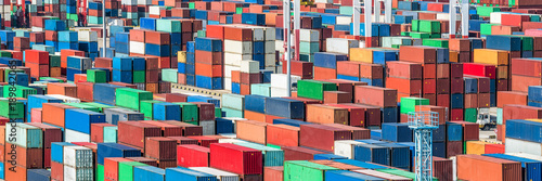 Foto auf AluDibond Port Containerhafen Panorama Hintergrund