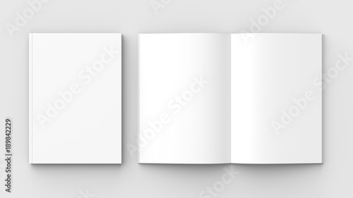 Fototapeta Brochure, magazine, book or catalog mock up isolated on soft gray background. 3D illustrating. obraz