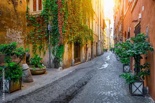 View of old cozy street in Rome, Italy © ekaterina_belova