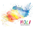 Watercolor drawing of multicolored paint splashes, stains on paper on white background, for decor, ornaments, illustration