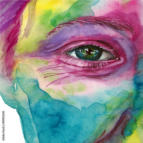 Watercolor Drawing Of A Man S Head Smeared In Paint Multi Colored