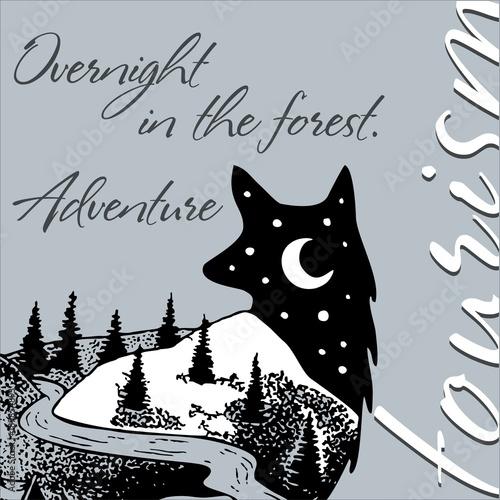 Spoed Fotobehang Halloween Journey to the mountains. The mountain range. Fox with a stylized view of nature